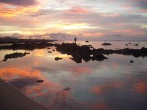 Fisher in a Reunion Island sunrise Stock Image