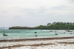 Fisher`s boat. Fishers` boat in Watamu beach Royalty Free Stock Photography
