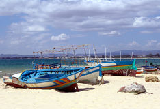 Fisher's boats - Tunisia. Fisher's boats on the Hammamet beach to Tunisia royalty free stock photography