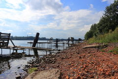 Fisher's planked footway. River Neva. Summer stock photography
