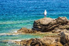 Fisher and sea. Lonely fisherman and sea of Crete, greece royalty free stock photo