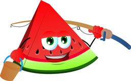 Fisher slice of watermelon Stock Images