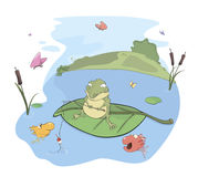 A fisher toad cartoon Stock Photography