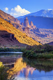 The Fisher Towers. Partially lit by the late afternoon sun reflected in the Colorado River near Moab,Utah Royalty Free Stock Photography