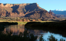 Fisher Towers and Colorado River near Sunset Royalty Free Stock Photos