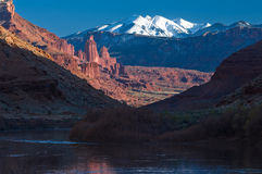 Fisher towers and La Sal Mountains Stock Image