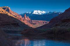 Fisher towers and La Sal Mountains Royalty Free Stock Photos