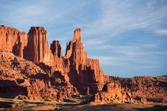 Fisher Towers Late Afternoon en el desierto al norte de Moab Utah fotos de archivo