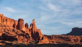 Fisher Towers Late Afternoon en el desierto al norte de Moab Utah fotografía de archivo libre de regalías