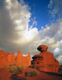Fisher Towers & Sandstone Boulder (V) Royalty Free Stock Photos