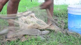 Fisher used fishing net catch catfishes at Phattalung stock video footage