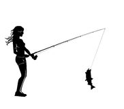 Fisher woman with catching fish. This illustration is made of a photo where I catching a fish Royalty Free Stock Photo