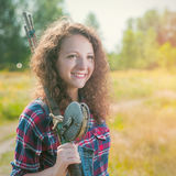 Fisher woman with wintage fishing pole Stock Image