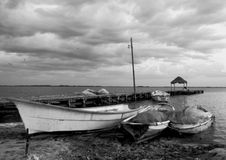 Fisherboat, boat,black and White photography Stock Photography
