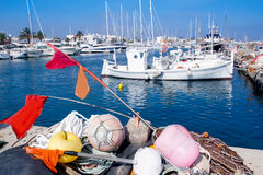 Fisherboats with nets longlines buoy tackle Royalty Free Stock Images