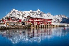 Fisherhouse at Sildpolness on the Lofoten Islands royalty free stock photo