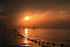 Fisheries subtidal and sunset Royalty Free Stock Photo