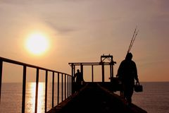 Fisheries subtidal and sunset Stock Image