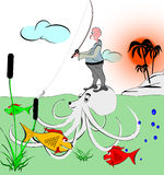 Fisherman. What can also happen fishermen catch fish. Image, graphics Royalty Free Stock Images