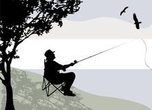 Fisherman. Silhouette with nature background vector stock illustration