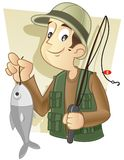 Fisherman. With his catch of fish in his hand royalty free illustration