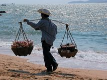 Fisherman. A fisherman with his catch on a beach in Thailand Royalty Free Stock Images