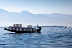 Fisherman. Silhouette of fisherman in Inle Lake, Myanmar Stock Photos