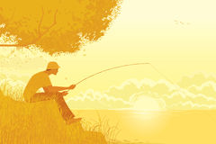 Fisherman. Fishing at the lake in the early autumn morning - vector illustration stock illustration