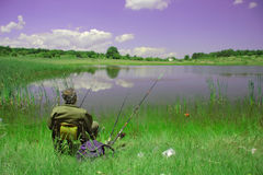 A fisherman. Doing some fishing stock images