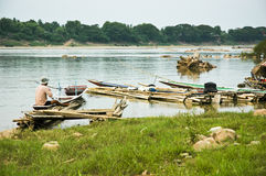 Fisherman. MEKONGR RIVER Chiangkhan Loei Province Thailand Stock Photos
