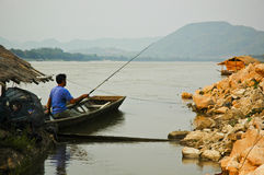 Fisherman. MEKONGR RIVER Chiangkhan Loei Province Thailand Royalty Free Stock Photos