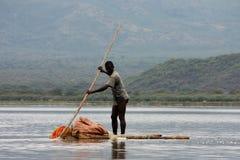 Fisherman. On his raft at lake tana in ethiopia Royalty Free Stock Images
