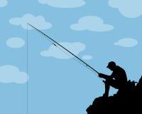 Fisherman. A comic  fisherman silhouette Royalty Free Stock Photos