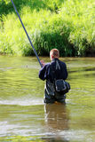 Fisherman. The fisherman fishes in the river Royalty Free Stock Photos