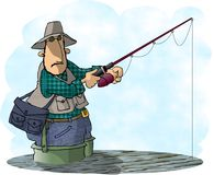 Fisherman. This illustration that I created depicts a man in waders standing in a lake while holding his fishing pole Stock Photo