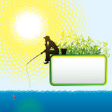 Fisherman. Vector background with a silhouette of the fisherman stock illustration