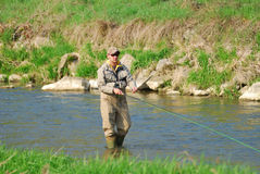 Fisherman. Angling on the river Royalty Free Stock Photo
