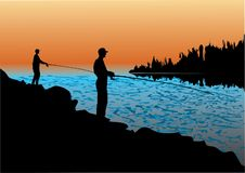 Fisherman. Fishing and fisherman on the shore Stock Photos