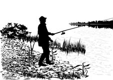 Fisherman. Nature background, black and white vector royalty free illustration