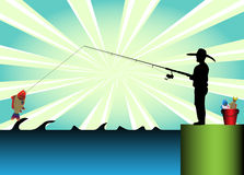 Fisherman. Colorful background with a fisherman fishing with a fishing rod Stock Photos