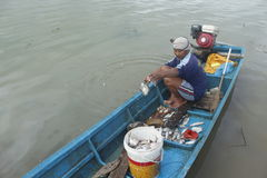 Fisherman. Activity at Gajah Mungkur reservoir, Wonogiri, Jawa Tengah, Indonesia Stock Image