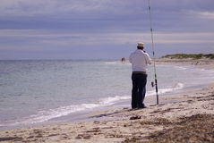 Fisherman alone Royalty Free Stock Images