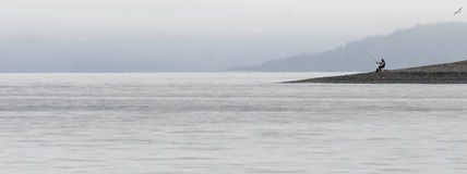 Fisherman. A fisherman is alone with his rod and a lonely seagull Royalty Free Stock Image