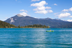 Fisherman on alpine Walchensee Royalty Free Stock Photo
