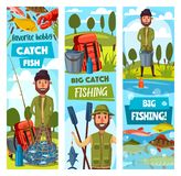Fishing sport banners, fisherman and ammunition. Fisherman and ammunition, fishing sport. Fisher with rod and paddles, hook and bait, carp and trout, herring and vector illustration