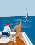 Fisherman angling that big cat. Vector art on game fishing vector illustration