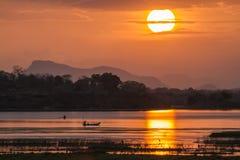 Fisherman in Arugam bay lagoon sunset, Sri Lanka Royalty Free Stock Images