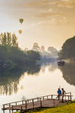 Fisherman and balloon background. Stock Image