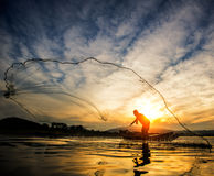 Fisherman of Bangpra Lake Royalty Free Stock Photos