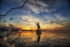 Fisherman of Bangpra Lake Stock Photography